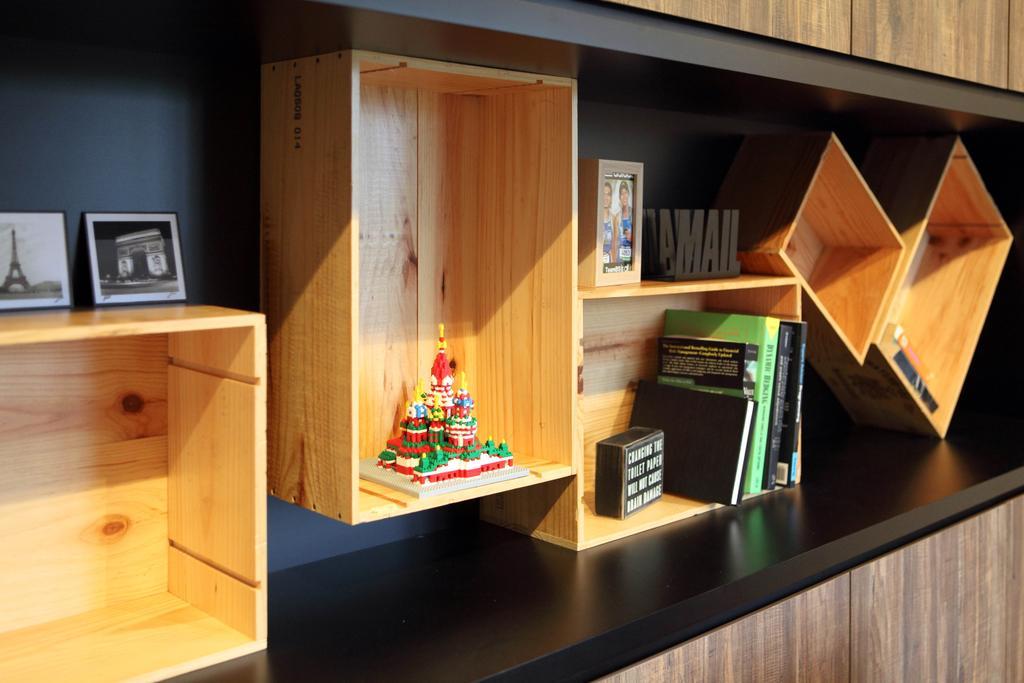 Eclectic, HDB, Study, Adora Green (Block 348D), Interior Designer, The Scientist, Industrial, Crate Storage, Crate Display, Decor Items, Display Items, Shelf, Bookcase, Furniture, Book, Indoors, Interior Design