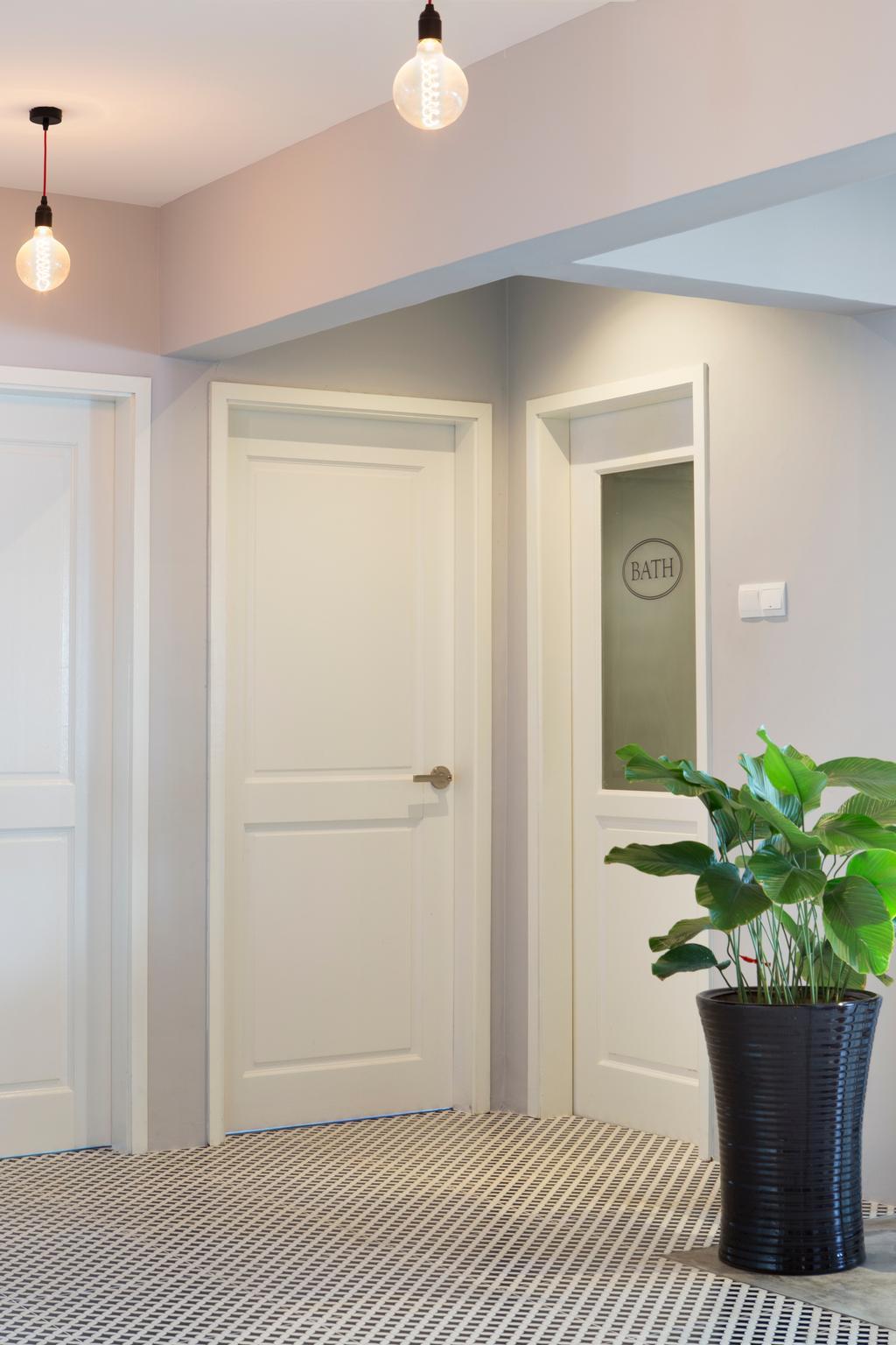Retro, Condo, Living Room, Bukit View, Interior Designer, The Scientist, Trimmings On Door, White Door, Hallway, Door Design, Flora, Jar, Plant, Potted Plant, Pottery, Vase, Door, Folding Door