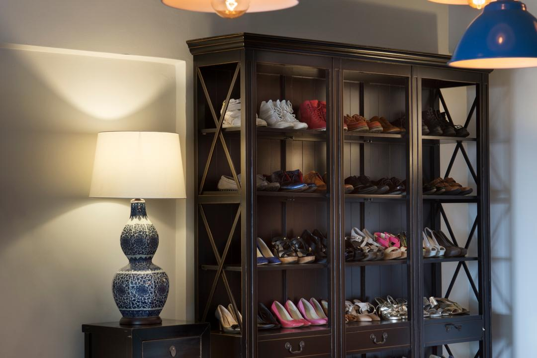 Bukit View, The Scientist, Retro, Dining Room, Condo, Chinese Lamp, Lampshade, Pendant Lamp, Old School, Shoes Storage, Entrance, Shoe Cabinet, Shoes Display, Hallway, Colourful Lamps, Cabinet, China Cabinet, Furniture, Clothing, Footwear, Shoe