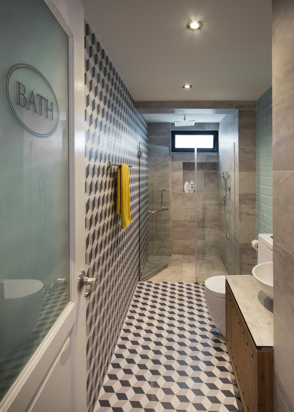 Retro, Condo, Bathroom, Bukit View, Interior Designer, The Scientist, Geometric Tiles, Patterned Tiles, Patterned Wall, Towel Rack, Shower Screen, Big Tiles, Toilet