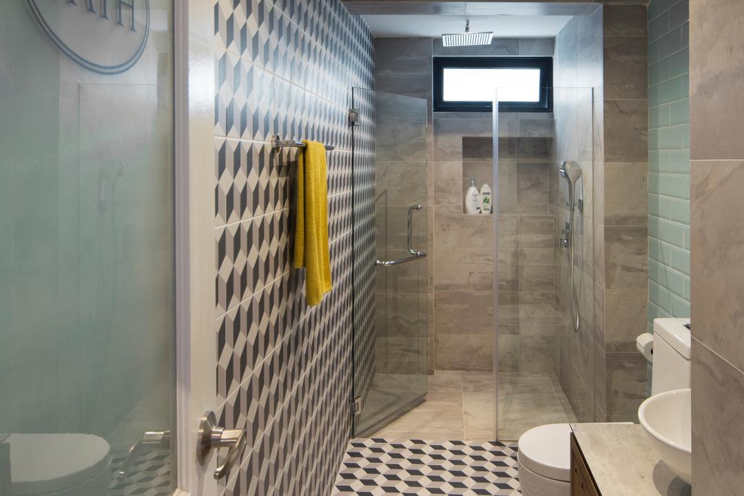 Bukit View, The Scientist, Retro, Bathroom, Condo, Geometric Tiles, Patterned Tiles, Patterned Wall, Towel Rack, Shower Screen, Big Tiles, Toilet