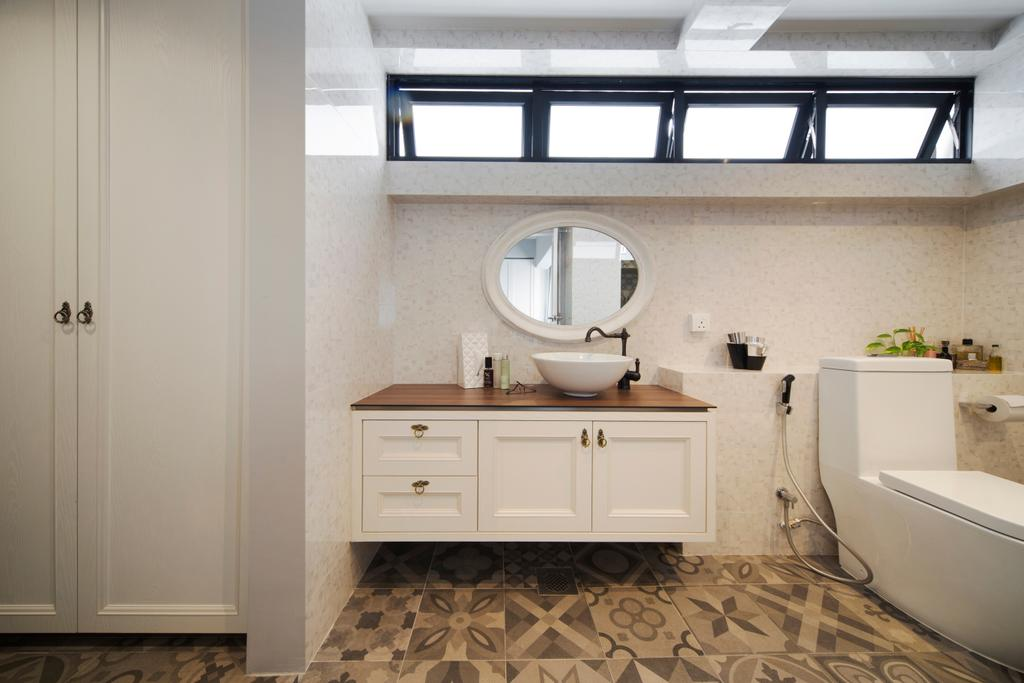 Retro, Condo, Bathroom, Bukit View, Interior Designer, The Scientist, Patterned Tiles, Round Mirror, Tiles, Country Style, Door Knob, Hose, Ledge, Water Closet, Toilet Bowl