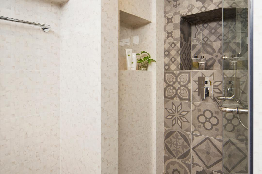 Bukit View, The Scientist, Retro, Bathroom, Condo, Glass Door, Shower, Swing Door, Patterned Tiles, Grey Tiles, Towel Rack
