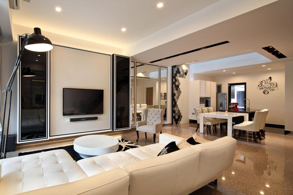 Contemporary, Landed, Living Room, Mimosa Drive, Interior Designer, The Scientist, Modern, Monochrome, Big Tiles, Large Tiles, White Sofa, Black And White, White And Black, Leather Sofa, Standing Lamp, Recessed Lightings, Round Coffee Table, Round Table, Armchair, Couch, Furniture, Indoors, Room, Interior Design