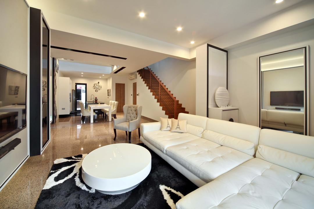 Mimosa Drive, The Scientist, Contemporary, Modern, Living Room, Landed, Round Table, Rug, Area Rug, Big Rug, L Shaped Sofa, White Sofa, White Leather, Stairs, Staircase, Indoors, Interior Design, Couch, Furniture