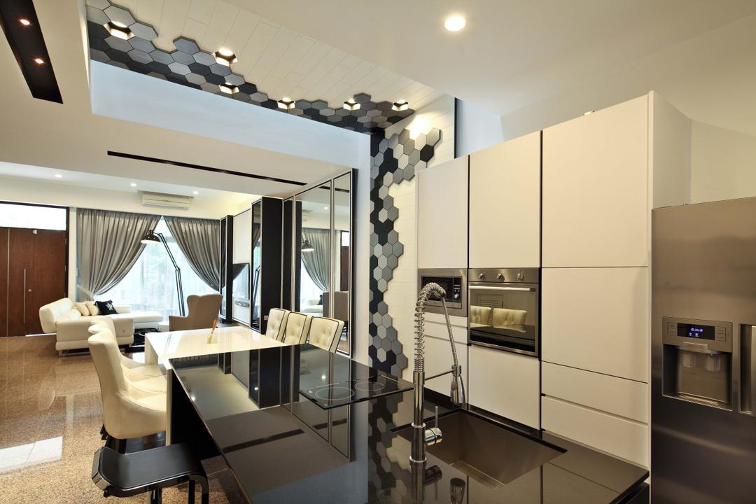 Mimosa Drive, The Scientist, Contemporary, Modern, Kitchen, Landed, Patterned Wall, Honeycomb Tiles, Kitchen Island, Kitchen Sink, Oven, Appliances, Recessed Lighting, Black And White, Monochrome, Chair, Furniture, Dining Table, Table, Indoors, Interior Design
