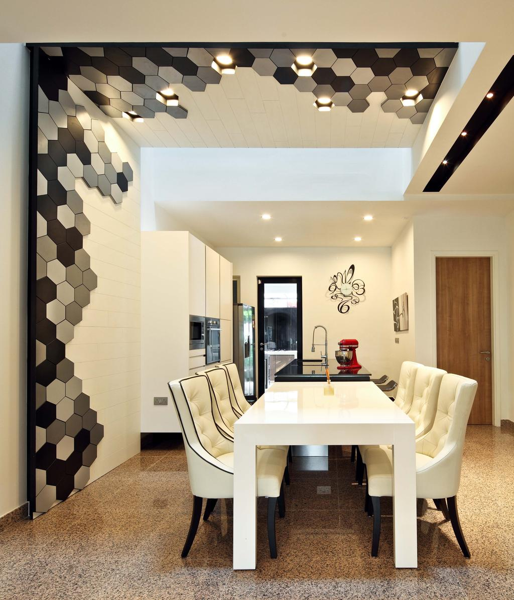 Contemporary, Landed, Dining Room, Mimosa Drive, Interior Designer, The Scientist, Modern, Hexagonal Tiles, Black And White, Monochrome, White Dining Table, White Table, White Chairs, Recessed Lighting, Indoors, Interior Design, Room