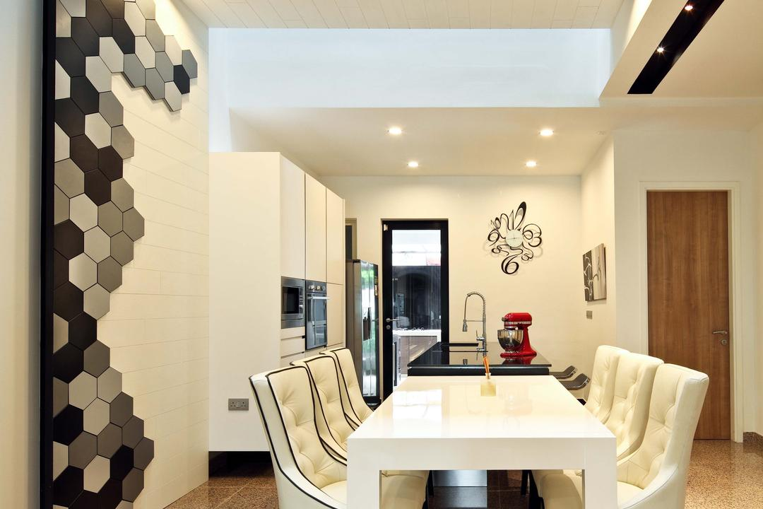 Mimosa Drive, The Scientist, Contemporary, Modern, Dining Room, Landed, Hexagonal Tiles, Black And White, Monochrome, White Dining Table, White Table, White Chairs, Recessed Lighting, Indoors, Interior Design, Room