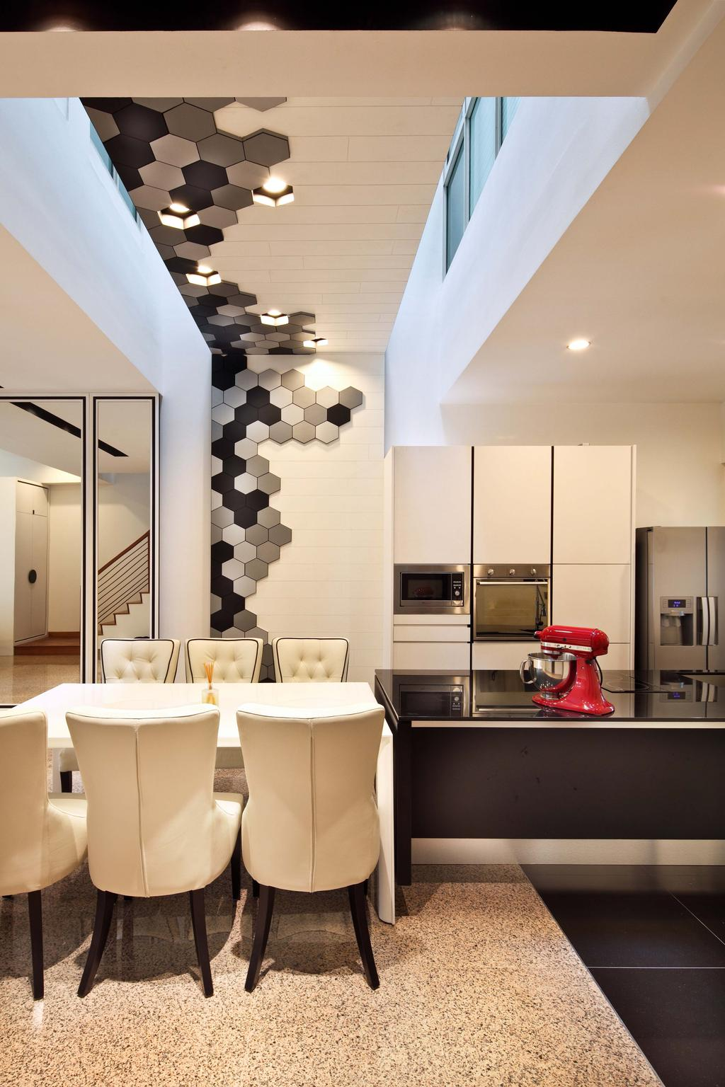 Contemporary, Landed, Dining Room, Mimosa Drive, Interior Designer, The Scientist, Modern, High Ceiling, Open Concept Kitchen, Kitchen Island, Black And White, Honeycomb, Tiles, Mixer
