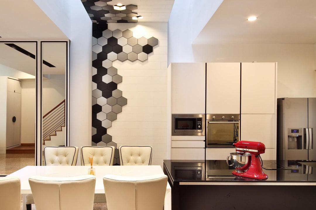 Mimosa Drive, The Scientist, Contemporary, Modern, Dining Room, Landed, High Ceiling, Open Concept Kitchen, Kitchen Island, Black And White, Honeycomb, Tiles, Mixer
