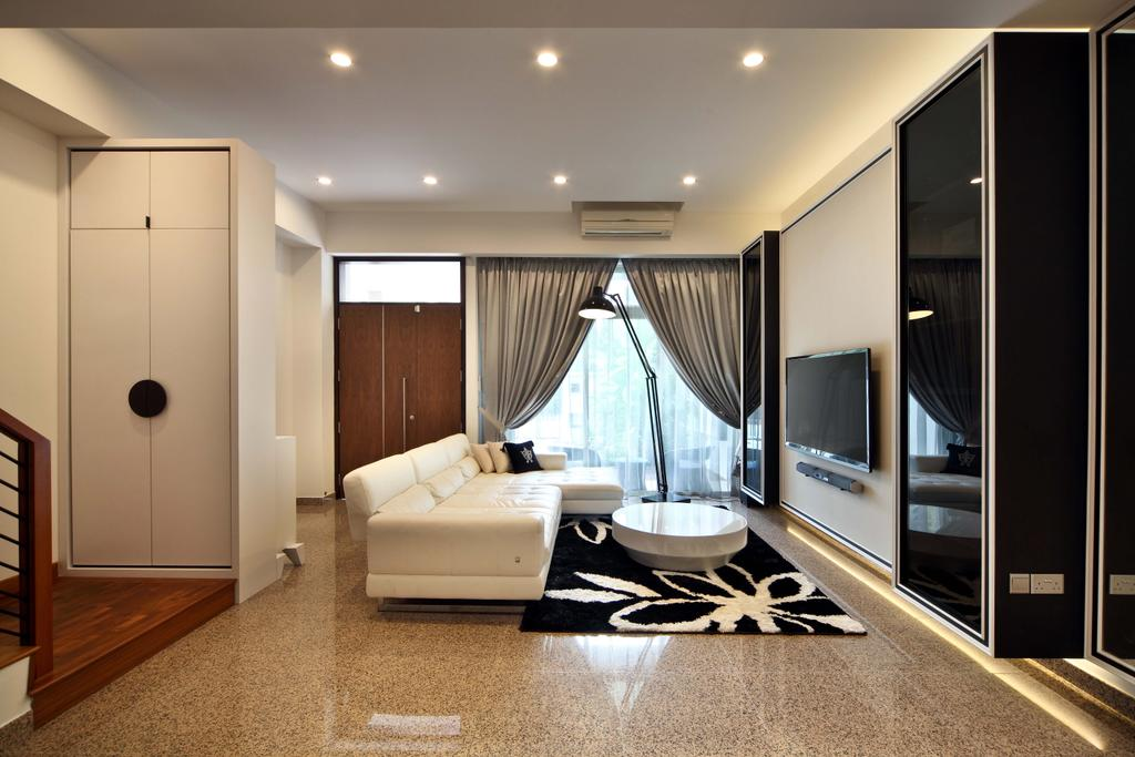 Contemporary, Landed, Living Room, Mimosa Drive, Interior Designer, The Scientist, Modern, Curtains, Floor Lamp, Arch Lamp, Recessed Lightings, Black And White, Cove Lighting, Big Tiles, Indoors, Interior Design, Bathroom, Room