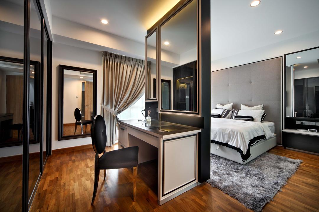 Mimosa Drive, The Scientist, Contemporary, Modern, Bedroom, Landed, Wainscoting, Wainscoting Details, Recessed Lighting, Plush Rug, Parquet, Dark Glass Door, Wall Mirror, Dresser, Vanity Table, Chair, Furniture, Indoors, Interior Design, Room
