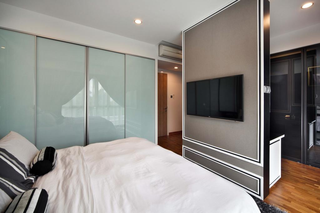 Contemporary, Landed, Bedroom, Mimosa Drive, Interior Designer, The Scientist, Modern, Wainscoting Panel, Partition, Tv Partition, Recessed Lighting, Bed, Furniture, Flooring