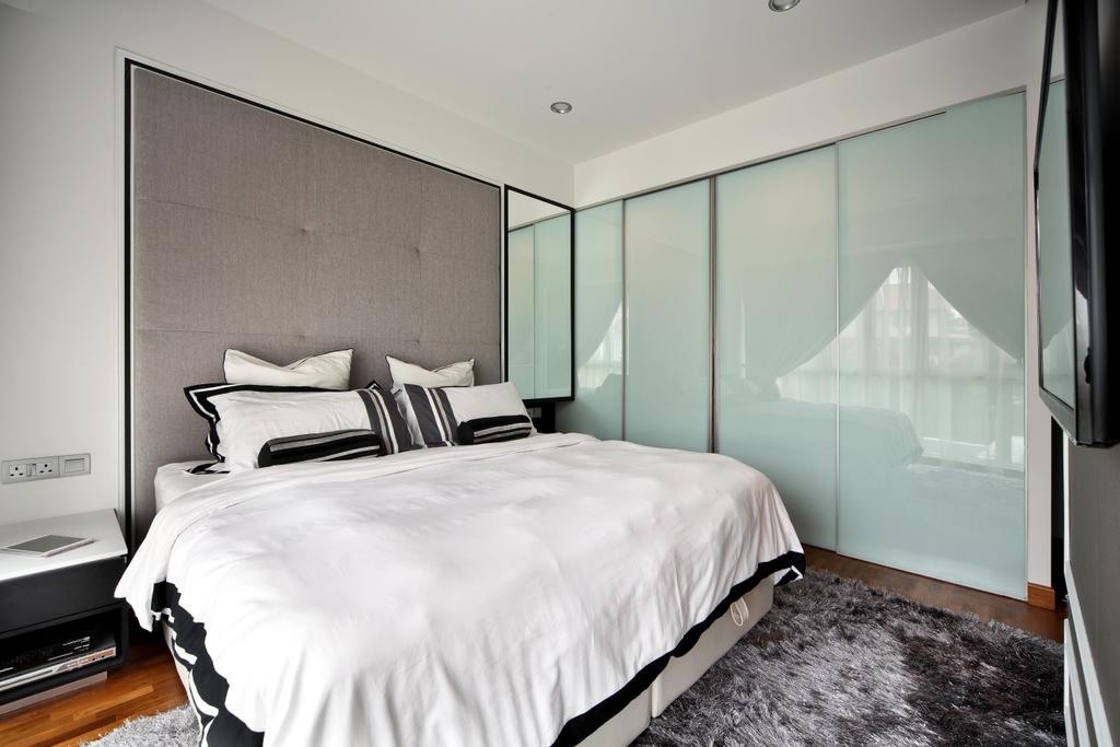 Contemporary, Landed, Bedroom, Mimosa Drive, Interior Designer, The Scientist, Modern, Wall Panel, Sideboard, Black And White, Glass Door, Sliding Doors, Plush Rug, Big Bed, King Sized Bed, King Size, Appliance, Electrical Device, Oven, Indoors, Interior Design, Room