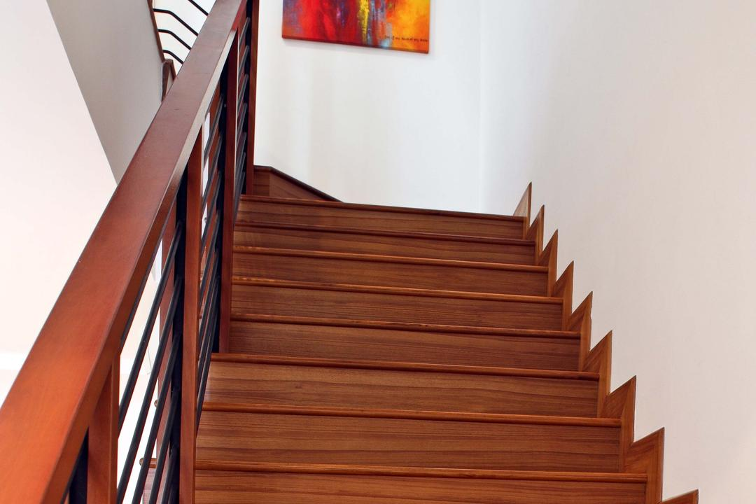 Mimosa Drive, The Scientist, Contemporary, Modern, Living Room, Landed, Staircase, Stairs, Stairway, Railing, Hand Rail, Banister, Handrail