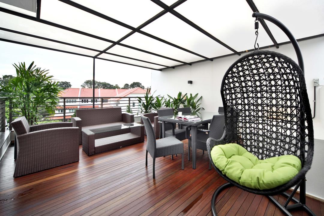 Mimosa Drive, The Scientist, Contemporary, Modern, Balcony, Landed, Outdoor Furniture, Swing Chair, Swing, Timber Decking, Wood Decking, Outdoor, Rest And Relax, Nature, Rooftop, Lounge, Chair, Furniture, Dining Table, Table, Building, House, Housing, Villa