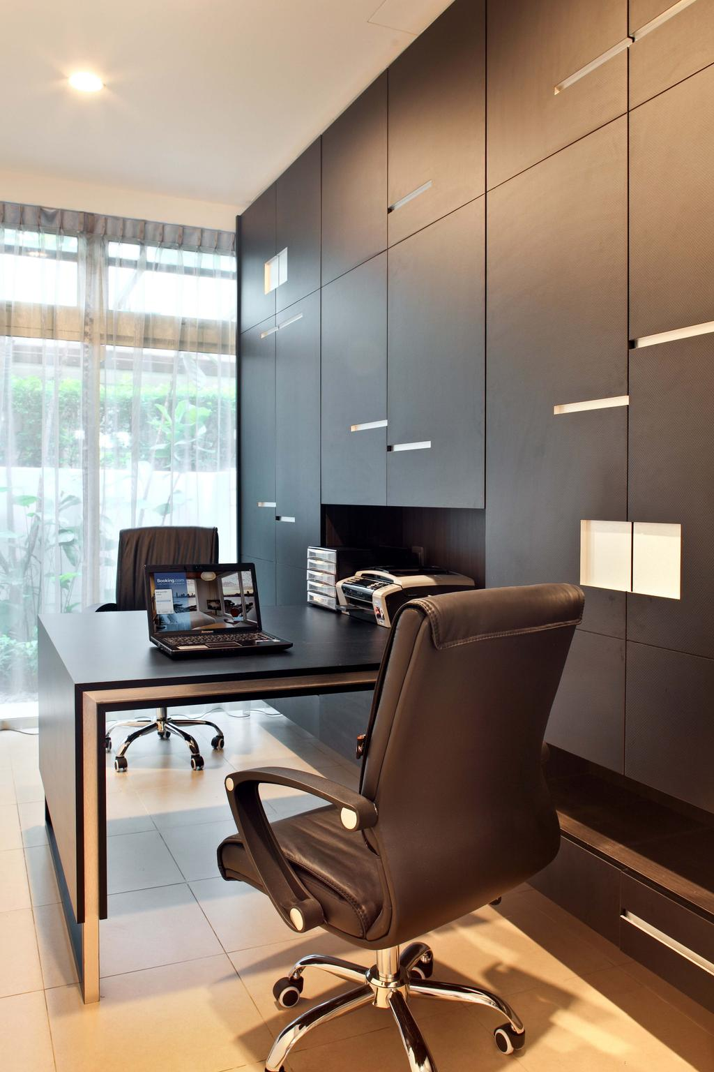 Contemporary, Landed, Study, Mimosa Drive, Interior Designer, The Scientist, Modern, Full Length Cabinet, Storage, Wardrobe, Cupboard, Office Chair, Monochrome, Recessed Lighting, Day Curtains, Workspace, Work Desk, Office, Couch, Furniture