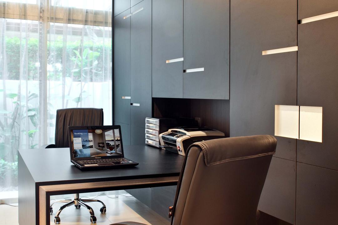 Mimosa Drive, The Scientist, Contemporary, Modern, Study, Landed, Full Length Cabinet, Storage, Wardrobe, Cupboard, Office Chair, Monochrome, Recessed Lighting, Day Curtains, Workspace, Work Desk, Office, Couch, Furniture