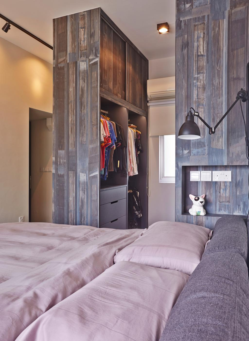 Eclectic, HDB, Bedroom, Strathmore Avenue (Block 62A), Interior Designer, Third Avenue Studio, Industrial, Wardrobe, Small Space, Walk In Wardrobe, Laminate, Rustic, Raw, Rough, Bedside Lamp, Couch, Furniture
