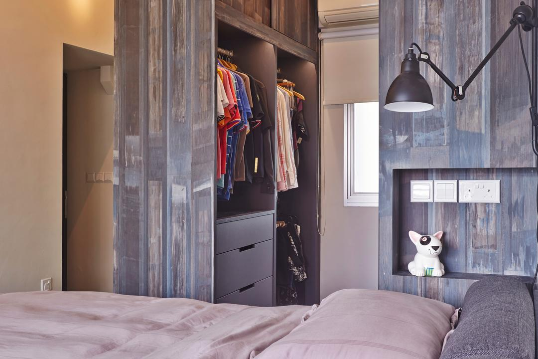 Strathmore Avenue (Block 62A), Third Avenue Studio, Eclectic, Industrial, Bedroom, HDB, Wardrobe, Small Space, Walk In Wardrobe, Laminate, Rustic, Raw, Rough, Bedside Lamp, Couch, Furniture