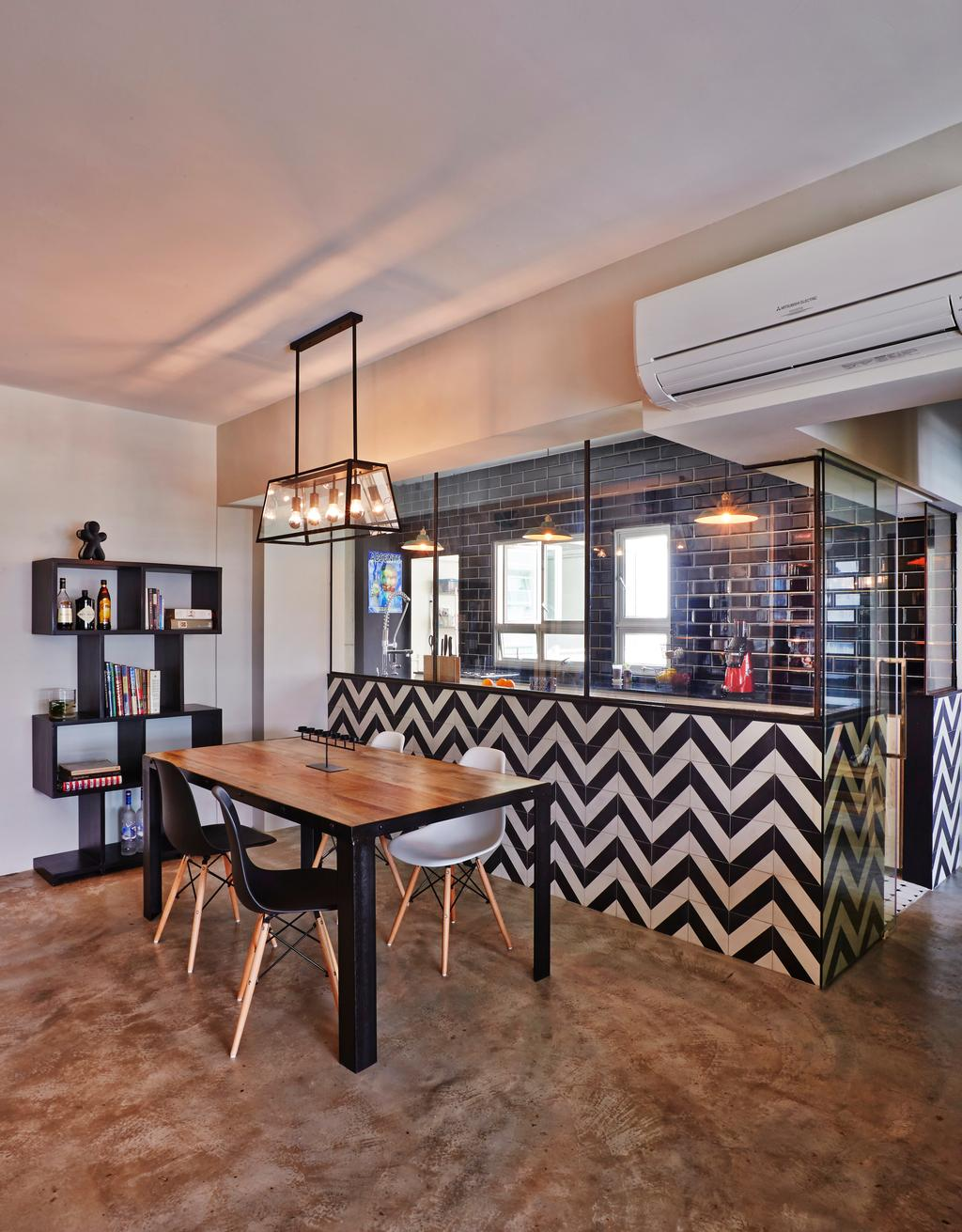 Eclectic, HDB, Dining Room, Strathmore Avenue (Block 62A), Interior Designer, Third Avenue Studio, Industrial, Chevron Stripes, Chevron, Graphic Wall, Cement Screed, Caged Lamp, Bookcase, Display Shelf, Wooden Table, Eames, Dsw Chairs, Hallway, Half Hack, Dining Table, Furniture, Table, Indoors, Interior Design, Room, Building, Housing, Loft, Chair, Cafe, Restaurant