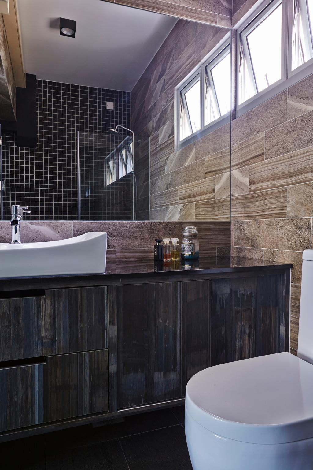 Eclectic, HDB, Bathroom, Strathmore Avenue (Block 62A), Interior Designer, Third Avenue Studio, Industrial, Black Tiles, Mosaic, Tiles, Dark, Water Closet, Laminate, Patterned Tiles, Vanity Counter, Black Vanity Counter, Bathtub, Tub