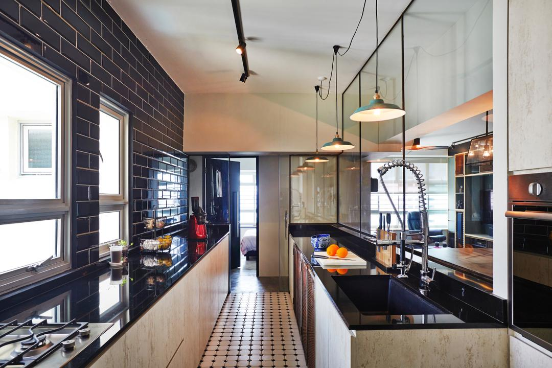 Strathmore Avenue (Block 62A), Third Avenue Studio, Eclectic, Industrial, Kitchen, HDB, Black Countertop, Oven, Laminates, Black Subway Tiles, Black Tiles, Dark, Subway Tiles, White Grout, Tile Grout, Appliance, Electrical Device, Indoors, Interior Design, Room