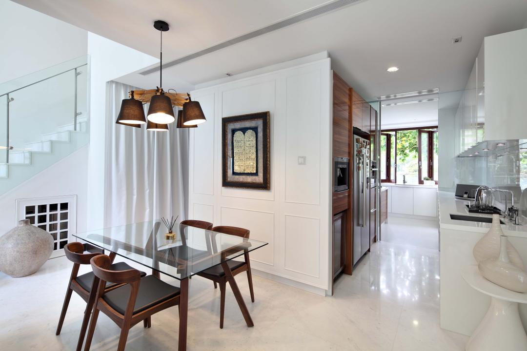 Jardin, The Scientist, Contemporary, Kitchen, Condo, Marble Tiles, Wainscoting, Open Concept, Doorless, White Cabinetry, L Shaped Kitchen, White, White And Brown, All White, Elegant, Posh, Dining Table, Furniture, Table, Dining Room, Indoors, Interior Design, Room, Chair, Bathroom