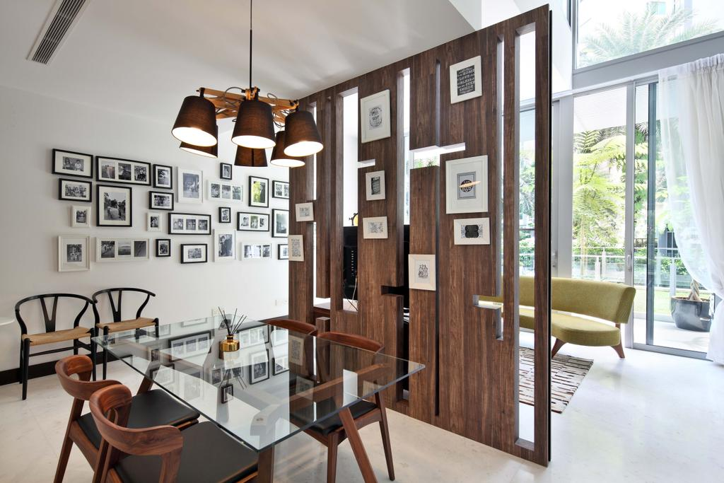 Contemporary, Condo, Dining Room, Jardin, Interior Designer, The Scientist, Glass Table, Tiles, Midcentury, Modern, Wood Partition, Gallery Wall, Photo Frames Decor, Wall Decor, Pendant Lamp, Dining Table, Furniture, Table, Indoors, Interior Design, Room