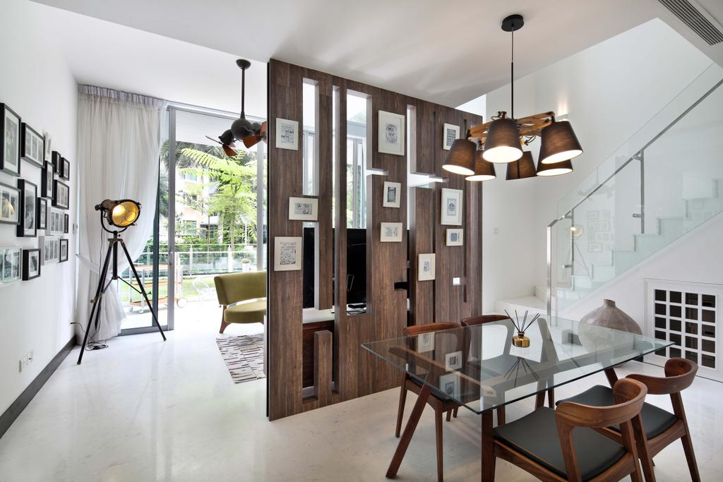 Contemporary, Condo, Dining Room, Jardin, Interior Designer, The Scientist, Stairs, Staircase, Hallway, Lower Floor, Understairs Storage, Dead Spaces At Stairs, Chair, Furniture, Dining Table, Table, Indoors, Interior Design, Room, HDB, Building, Housing, Loft
