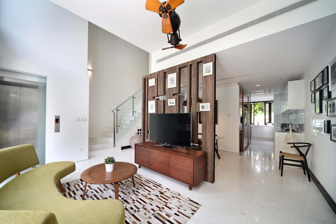 Jardin, The Scientist, Contemporary, Living Room, Condo, High Ceiling, Partition, Curved Sofa, Pencil Legs, Midcentury Modern, Midcentury, Lift, Penthouse, Round Coffee Table, Wooden Coffee Table, Tv Console, Tiles, Rug, Area Rug, Small Ceiling Fan, Lift Access, Entrance, Loft, Door, Sliding Door