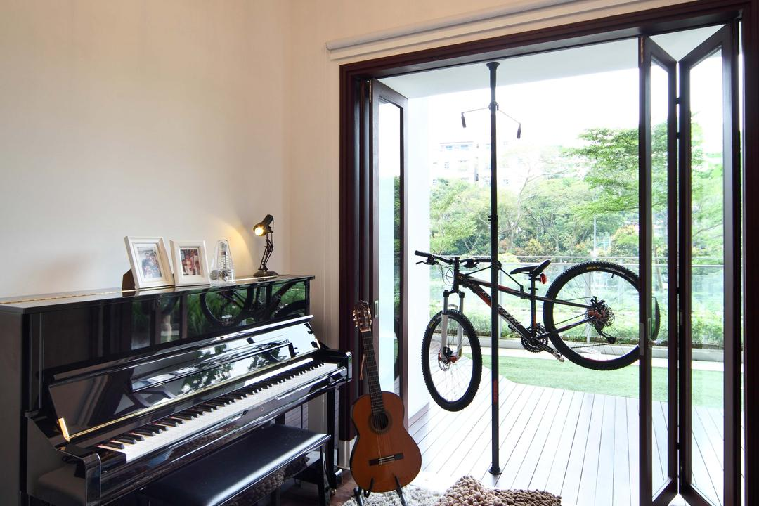 Jardin, The Scientist, Contemporary, Study, Condo, Hanging Bulbs, Exposed Bulbs, Piano, Rug, Cushions, Bicycle, Folding Doors, Music Room, Entertainment Nook, Bike, Transportation, Vehicle, Mountain Bike