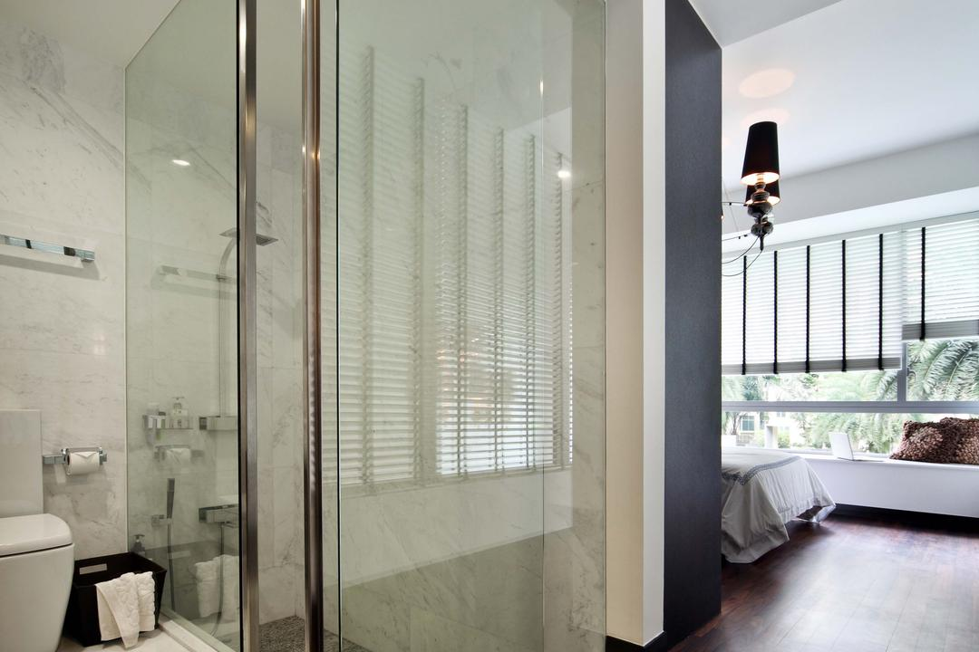 Jardin, The Scientist, Contemporary, Bathroom, Condo, Open Concept, Open, Open Layout, Glass Door, Shower, Tiles, Marble Tiles, Monochrome, Toilet