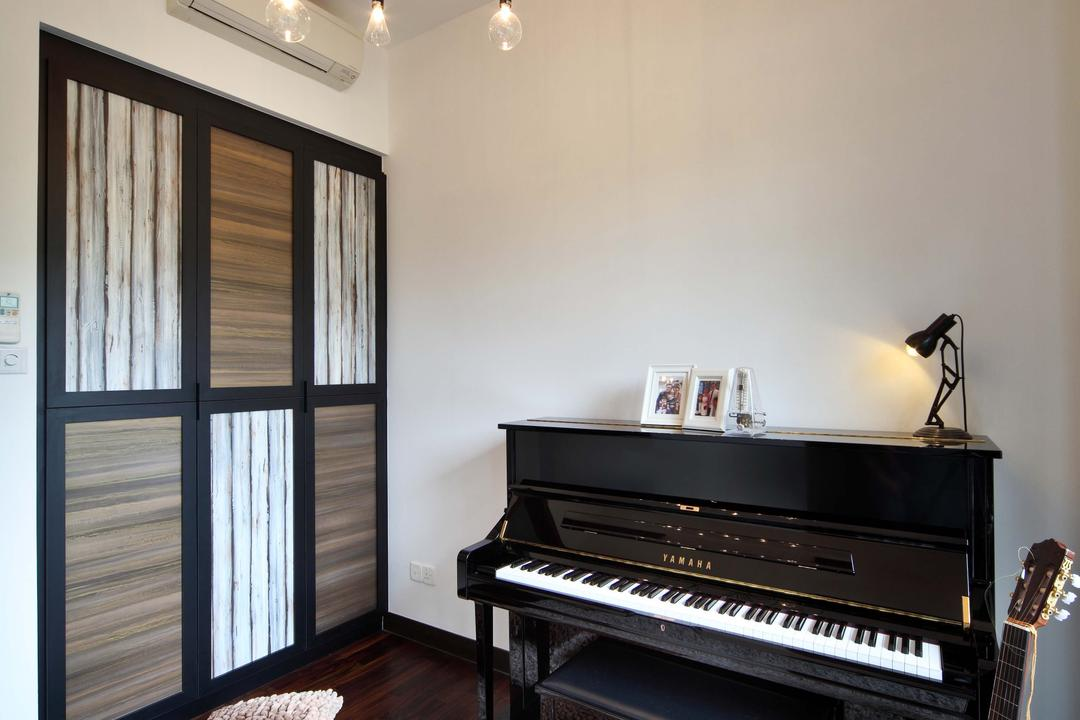 Jardin, The Scientist, Contemporary, Study, Condo, Guitar, Music Instruments, Music Room, Plush Rug, Cosy, Entertainment Corner, Leisure Activities, Music, Musical Instrument, Piano, Grand Piano
