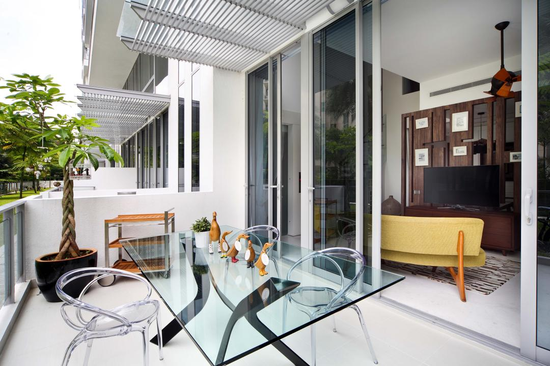Jardin, The Scientist, Contemporary, Balcony, Condo, Glass Dining Table, Outdoor Furniture, Potted Plant, Trellis, Trolley, Sliding Door, Spacious, Expansive, Ghost Chairs, Acrylic Chairs, Transparent Chairs, Dining Table, Furniture, Table, Sink, Dining Room, Indoors, Interior Design, Room, Chair