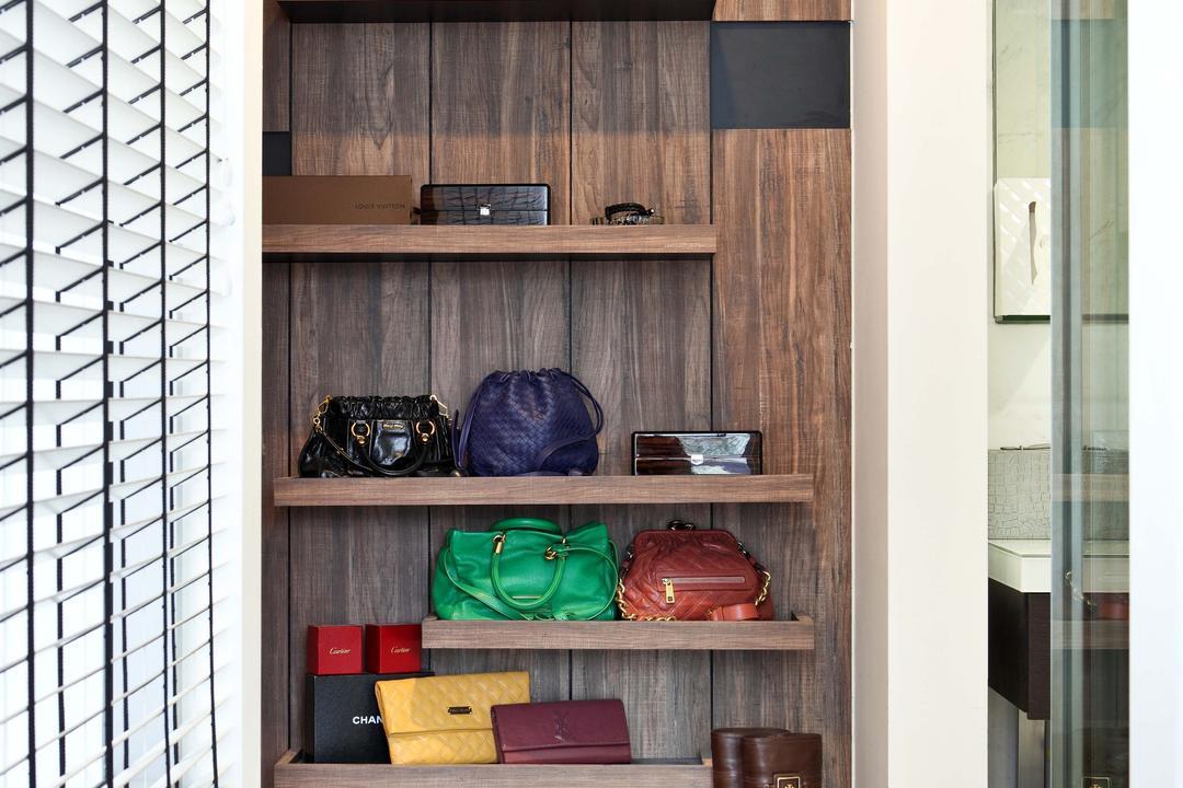 Jardin, The Scientist, Contemporary, Bedroom, Condo, Accessories, Storage, Bags Display, Shelves, Shoes Storage, Shoe Display, Closet, Cupboard, Furniture, Shelf