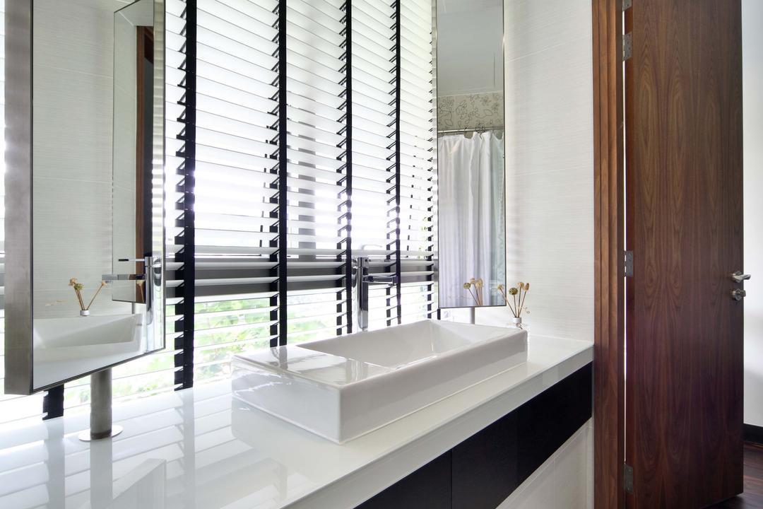 Jardin, The Scientist, Contemporary, Bathroom, Condo, Venetian Blinds, Blinds, Vanity Basin, Long Mirrors, Indoors, Interior Design