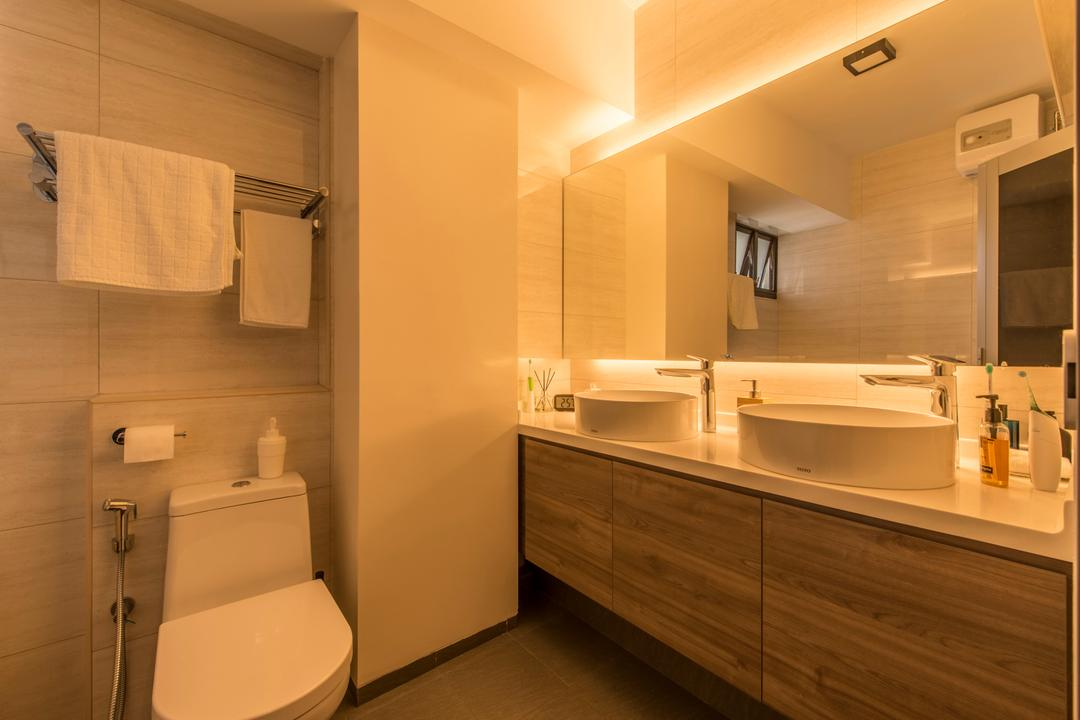 Anchorvale Lane (Block 312A), Starry Homestead, Minimalistic, Bathroom, HDB, Warm Lighting, Bathroom Vanity, Double Vanity, Double Sink, Vessel Sink, Toilet Bowl, Water Closet, Towel Rack, Mirror, Concealed Lighting, Indoors, Interior Design, Room, Towel, Toilet