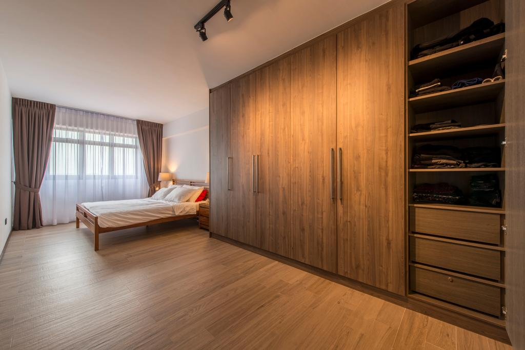 Minimalistic, HDB, Bedroom, Anchorvale Lane (Block 312A), Interior Designer, Starry Homestead, Wood Floor, Wooden Flooring, Woody, Brown Furniture, Brown, Cabinet, Wardrobe, Storage, Storage Space, Curtains, Warm Lighting, Cabinetry, Curtain, Home Decor, Closet, Cupboard, Furniture