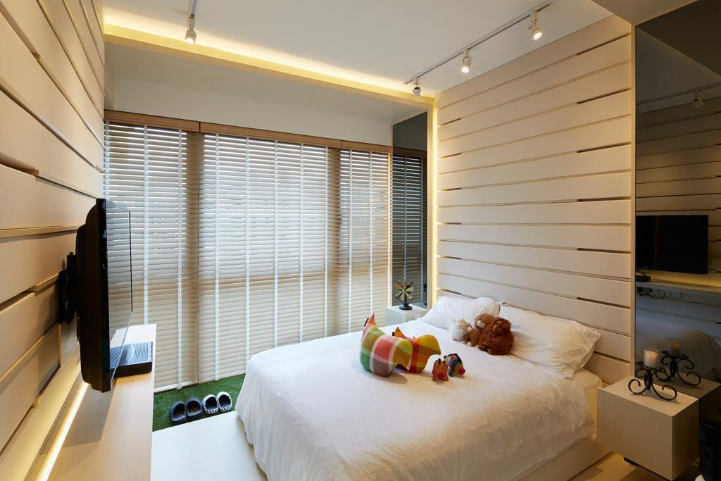 Minimalistic, Condo, Bedroom, 8 Courtyards, Architect, asolidplan, Bedroom Ideas, Bedroom Concept, Bedroom Design, Feature Wall, Wooden Feature Wall, Wooden Tv Console, Tv Console, Wall Mounted Tv, Brown And White Bedroom, Tacklights, Blinds, Carpet Grass, Floating Tv Console, Linen, Bed Linen, White Pillows, False Ceilings, Cove Light, Scandinavian Bedroom, Architecture, Building, Skylight, Window, Bed, Furniture, Indoors, Interior Design