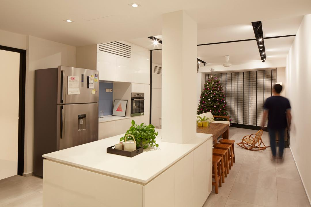 Heritage View, asolidplan, Minimalistic, Scandinavian, Dining Room, Condo, Kitchen Lightings, White Cabinets, White Kitchen Cabinets, Built In Oven, Brown Chairs, Dining Area, Dining Set, Spacious And Bright, Human, People, Person, Flora, Jar, Plant, Potted Plant, Pottery, Vase, Indoors, Interior Design