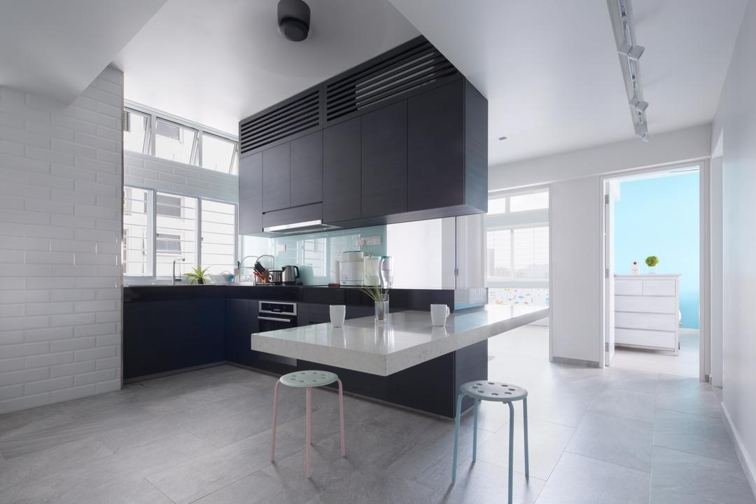 King's Mansion, asolidplan, Minimalistic, Modern, Kitchen, Condo, Natural Lightings, Spacious Kitchen Simple Living, Minmalist, Stools, White Stills, Room Entrance, Built In Oven, Bar Stool, Furniture, Indoors, Room, HDB, Building, Housing, Loft