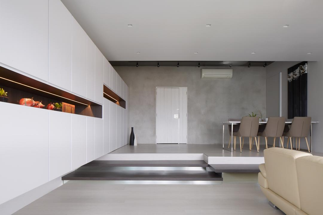 King's Mansion, asolidplan, Minimalistic, Modern, Dining Room, Condo, Grey And White, Simple And Spacious, Cabinet Display, Dining Set, Dining Area, Dining Chairs, Dining Table, Couch, Furniture, Indoors, Interior Design, Table, HDB, Building, Housing, Loft
