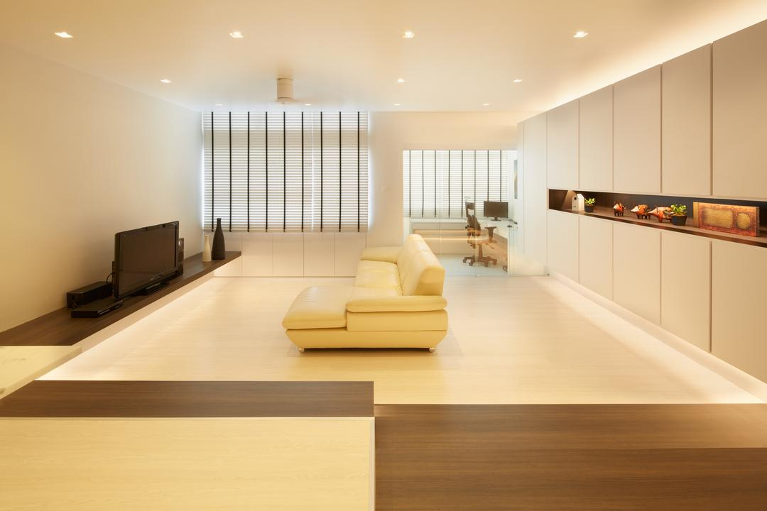 King's Mansion, asolidplan, Minimalistic, Modern, Living Room, Condo, Simple Living, Simple And Functional, Warm Lights, Brown And White, Sectionals, Venetian Blinds, Console Lights, Indoors, Interior Design, Flooring