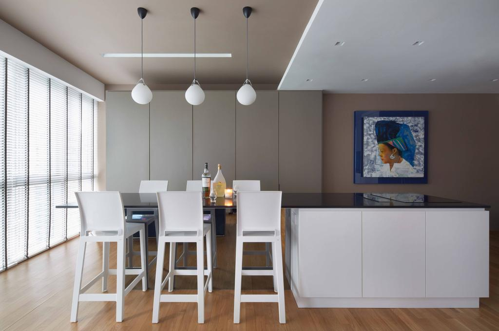Contemporary, Condo, Dining Room, One Shenton, Architect, asolidplan, Natural Lightings, Spacious Dining, Simple And Functional Dining, Island, Brown Walls, Venetian Blinds, Bar Stool, Furniture, Indoors, Interior Design, Room, Dining Table, Table, HDB, Building, Housing, Loft