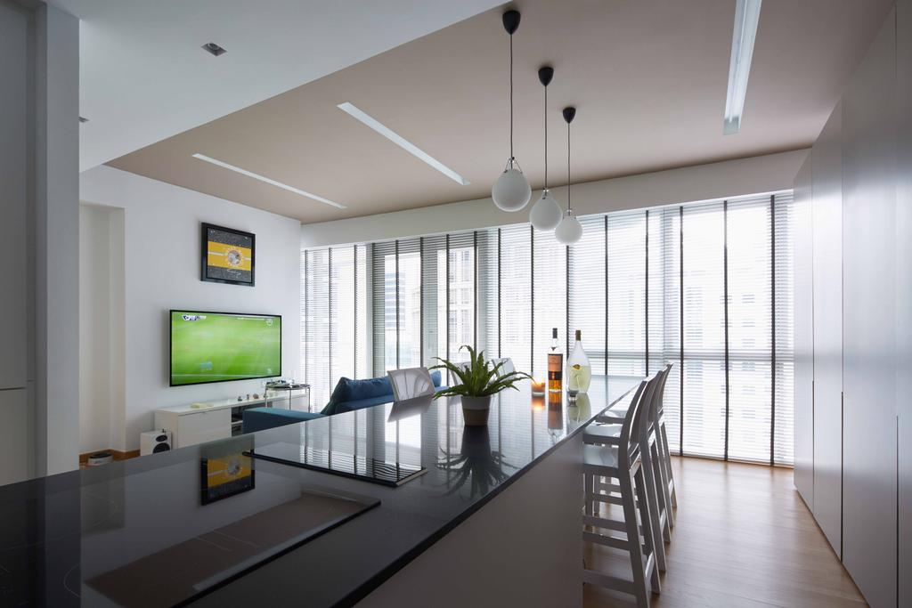 Contemporary, Condo, Dining Room, One Shenton, Architect, asolidplan, Long Dining Table, Black And White, Black And White Kitchen Island, Kitchen Island And Dining, Indoors, Interior Design, Banister, Handrail