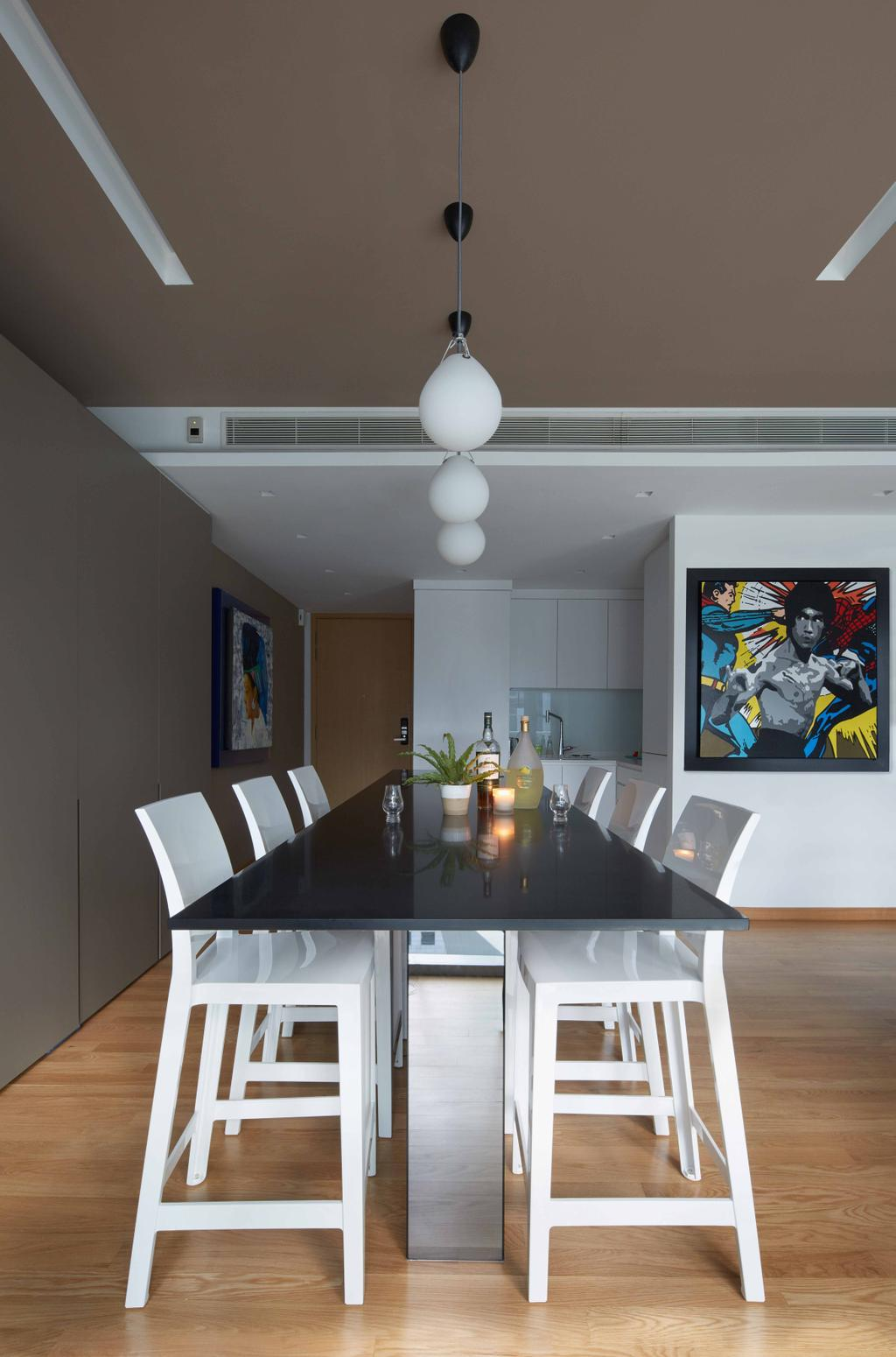 Contemporary, Condo, Dining Room, One Shenton, Architect, asolidplan, Dining Set, Black And White Dining Set, Brown False Ceiling, Parquet Floor, Indoors, Interior Design, Room, Autograph, Handwriting, Signature, Text, Dining Table, Furniture, Table, Poster, Chair