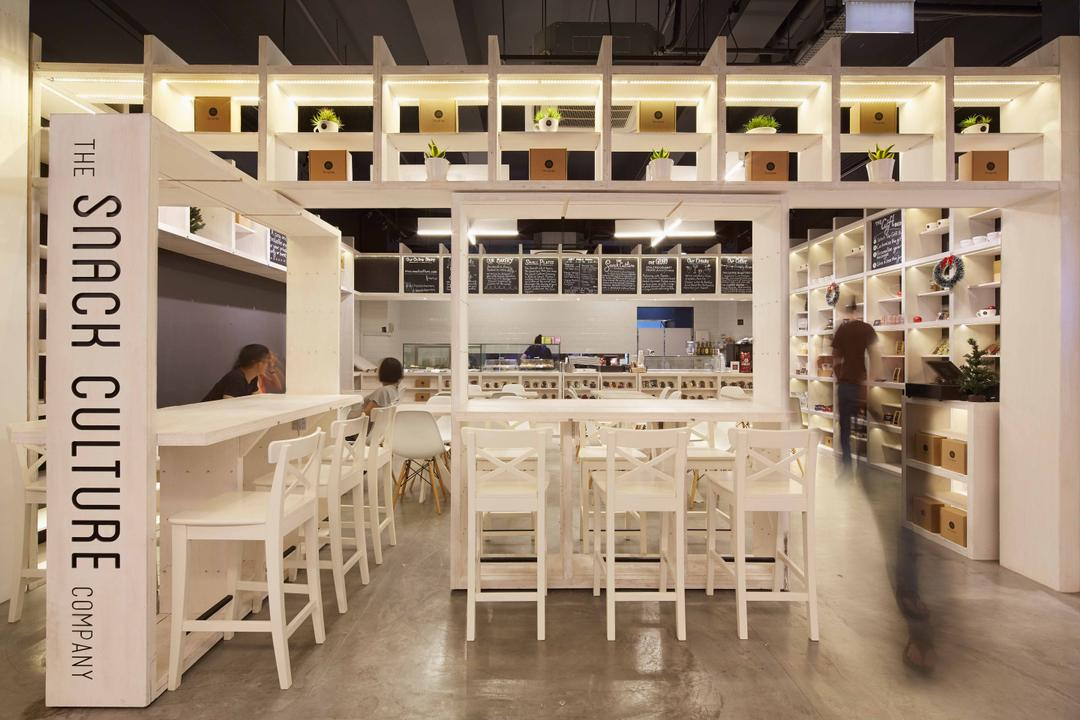 Snack Culture, asolidplan, Modern, Living Room, Commercial, Commericial Shop, Commericial Shop Design, Shop Front, Snack Store, White And Clean, White Snack Shop, White Chairs, White Table