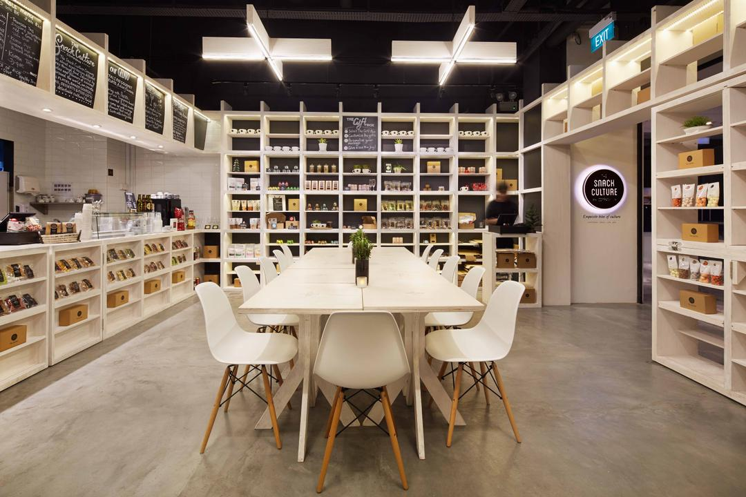 Snack Culture, asolidplan, Modern, Commercial, White Table, Long White Table, White Chair, Shelves, White Sheleves, White Shelvings, White Shelve, White Shelf, , Indoors, Interior Design, Library, Room, Chair, Furniture, Dining Table, Table