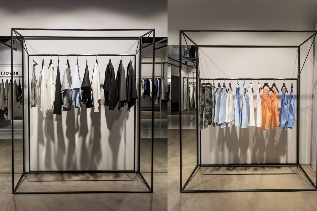 Revolte Flagship Store, asolidplan, Minimalistic, Commercial, Racks, Clothes Rack, Clothes Display, Simple And Unique, Simple And Unique Clothes Rack, Designer Clothes Rack, Apron, Shop